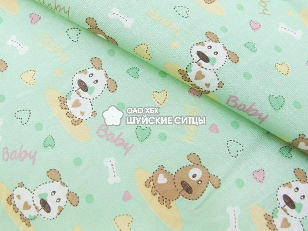 Ткань Ситец 95 90231 - Собачки Зеленый фон