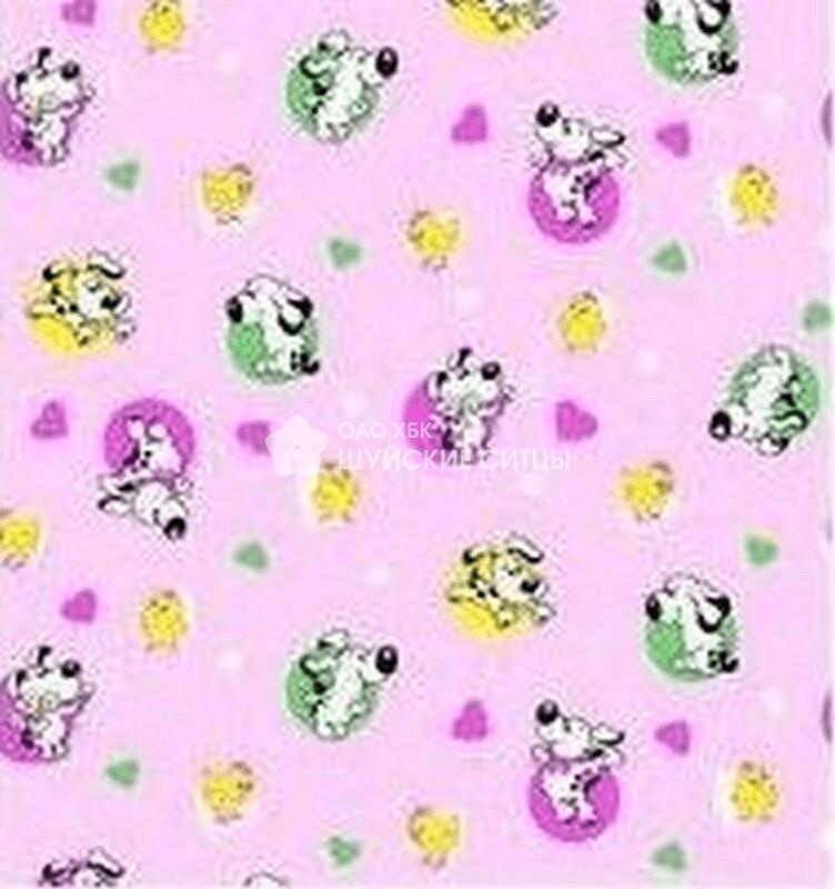 Ткань Ситец 95 70043 - Собачки Розовый