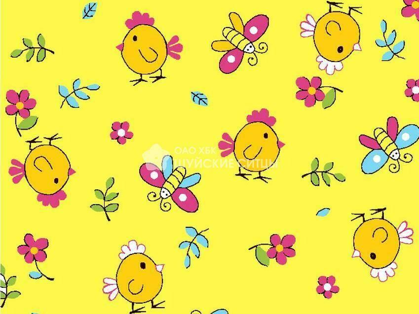 Ткань Ситец 95 87191 - Цыплята Желтый