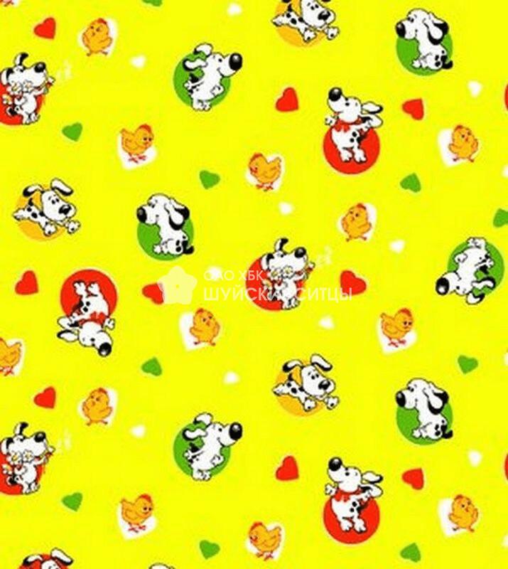 Ткань Ситец 95 70041 - Собачки Желтый