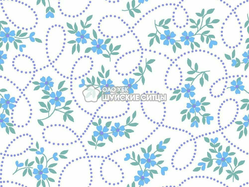 Ткань Ситец 150 97822 - Синие цветы