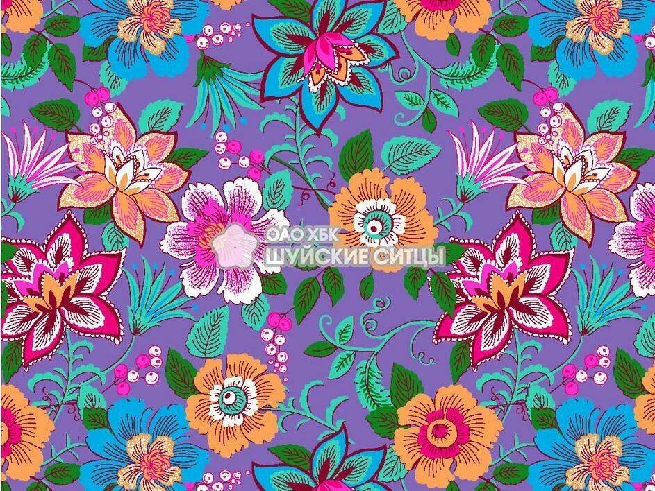 Ткань Ситец 150 96181- Фиолетовые фон