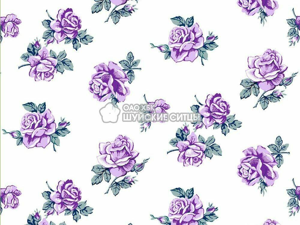Ткань Ситец 150 97832 - Фиолетовые розы