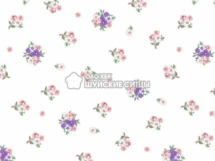 Ткань Ситец 150 95941 - Фиолетово - розовые цветы