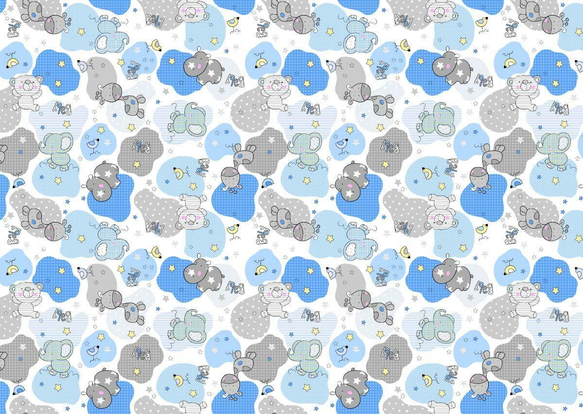 Фланель 90 см 21221-1 Звездные слоники