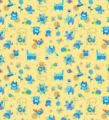 Фланель 90 см 5569-4 Кот и Пес