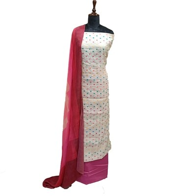 Cream Net with Multicoloured Embroidered Dots