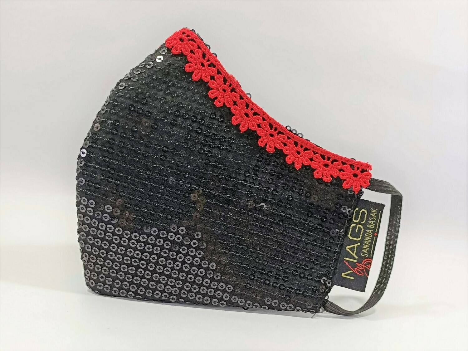 Black Sequin Red Lace