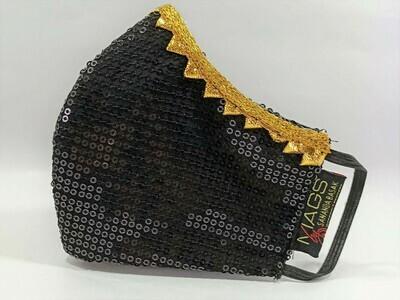 Black Sequin Gold Lace