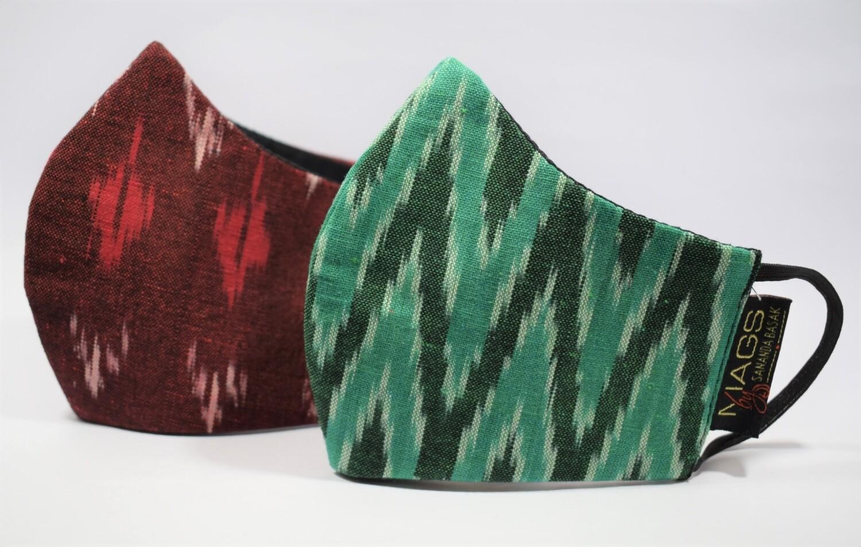 2 Set Combo - Green And Maroon Ikat