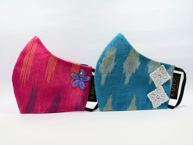 2 Set Combo - Firoza Blue And Fuschia Pink Ikat