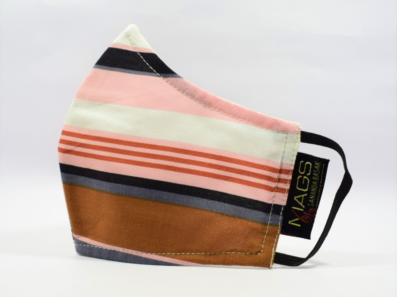 Brown Beige Striped Cotton