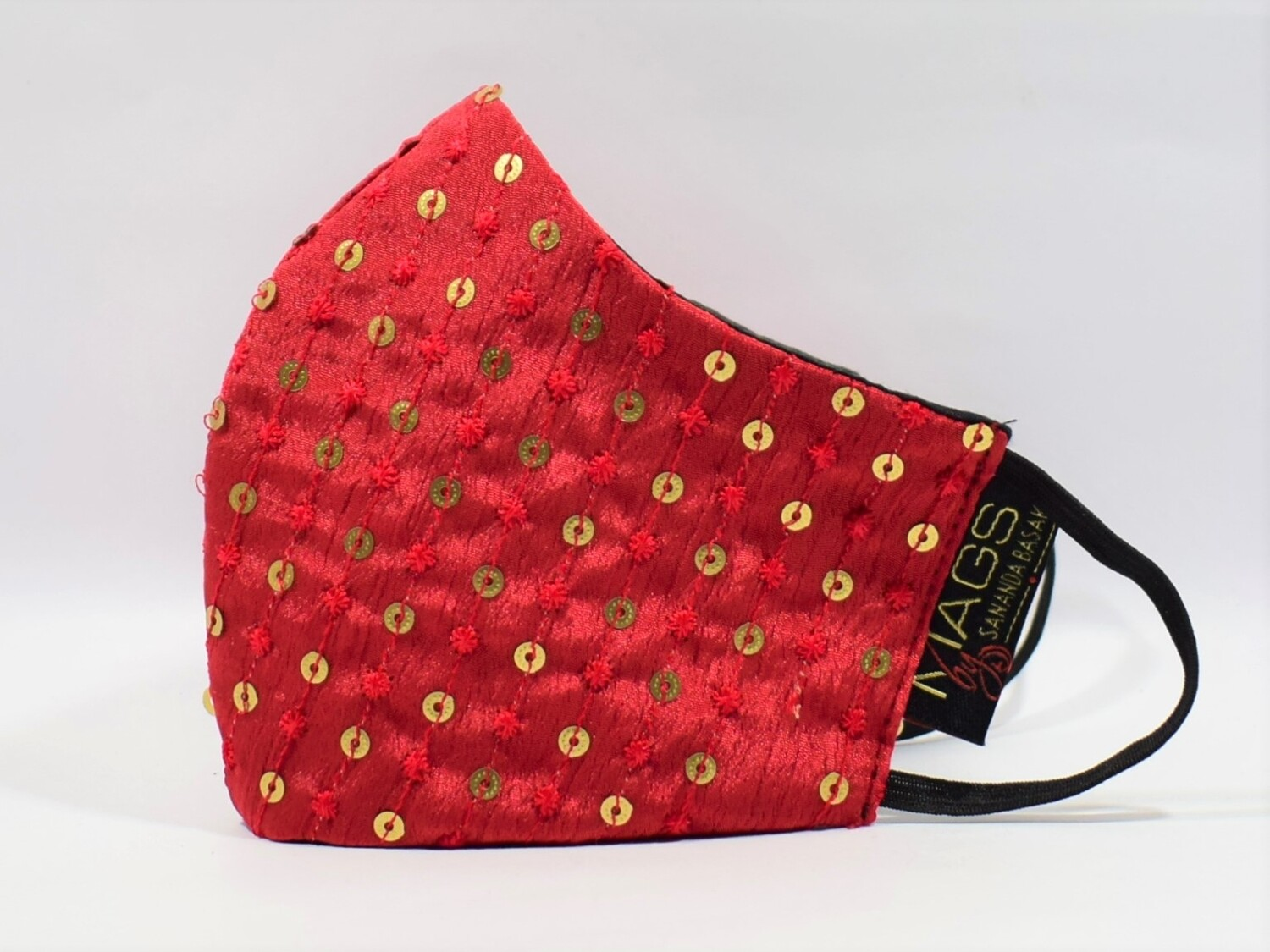 Red Silk With Gold Sequin Dots
