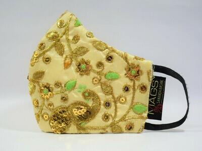 Gold Embroidered Beige Silk