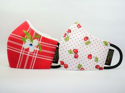 2 Set Combo - Christmas Red And White Printed Cotton