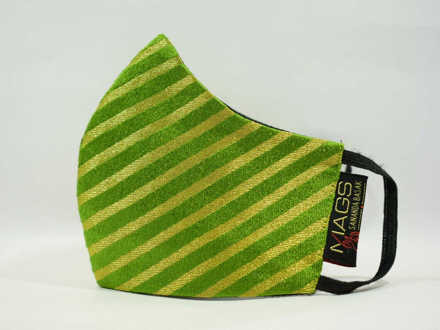 Green Brocade with Golden Stripes