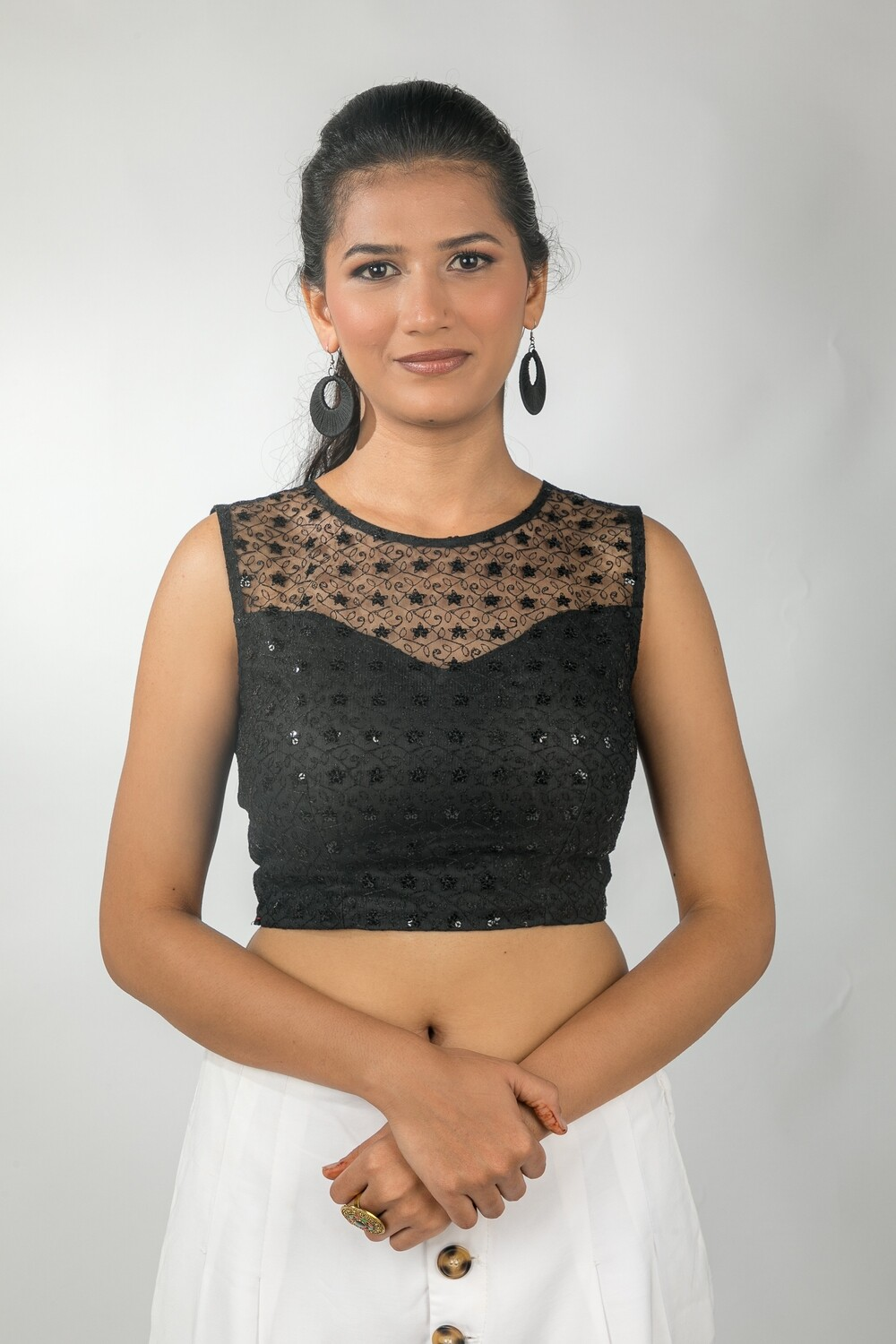Black Embroidered Net Saree Blouse