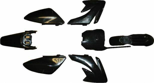 Plastic Set - 70cc, Dirt Bike, Black, Honda, CRF 70 Profile (7pcs) 70D7150BK