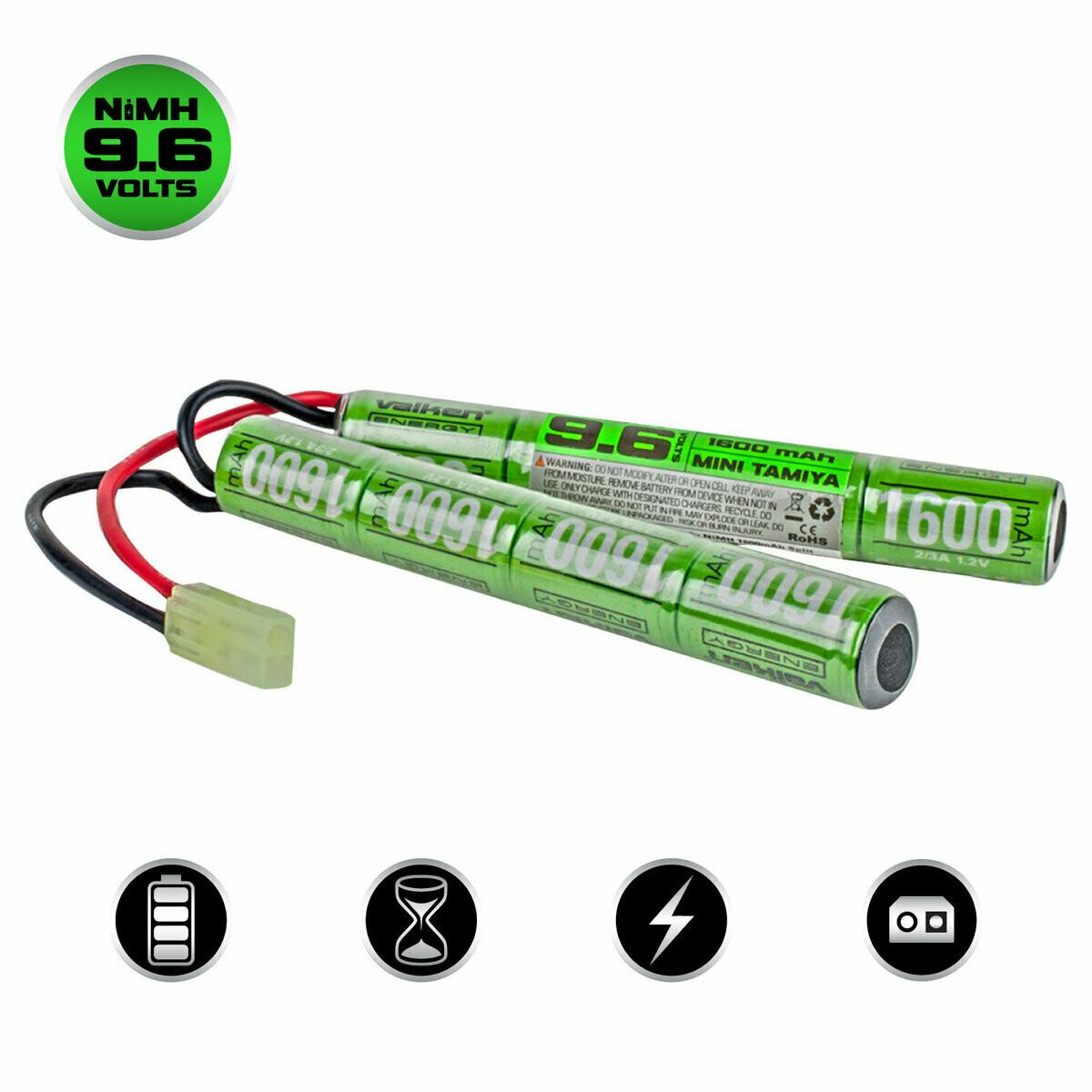 Valken NiMh 9.6V 1600mAh Split Airsoft Battery (Small Tamiya)