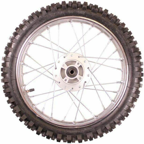 "Rim and Tire Set - Front 14"" Black Rim (1.40x14) with 2.50-14 Tire, Disc Brake 40D4140BK"