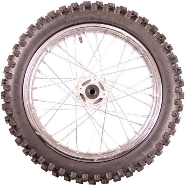 "Rim and Tire Set - Rear 16"" Chrome Rim (1.85-16) with 90/100-16 Tire, Disc Brake 40D4145CR"
