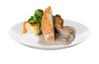 Chicken Breast in leek & Beacon Bechamel Sauce