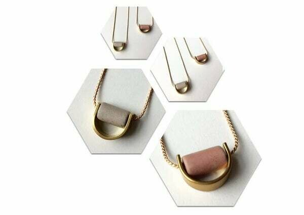 MFV Ceramic Tube Crescent Necklace - Pink