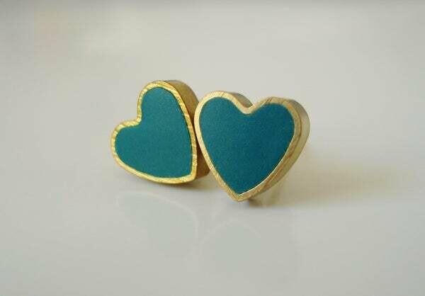 MFV Heart Studs - Mint Green
