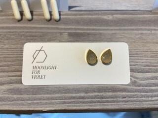 MFV Tear Drop Studs - Ivory w Glitter