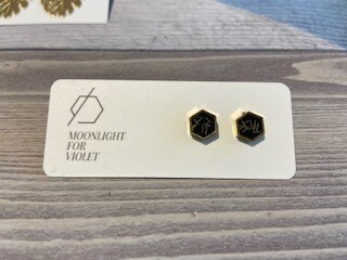 MFV Hexagon Studs - Black w Gold