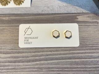 MFV Hexagon Studs - White Sparkle