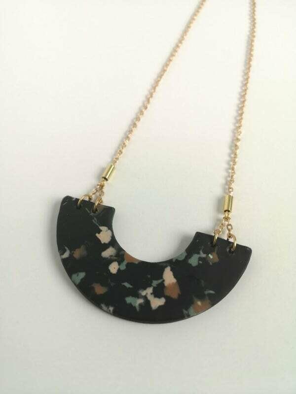 MFV Terrazzo Arch Necklace - Black