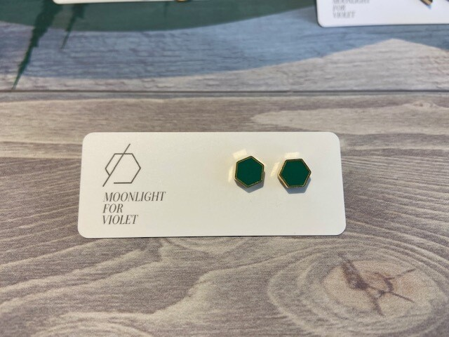 MFV Hexagon Studs  Green