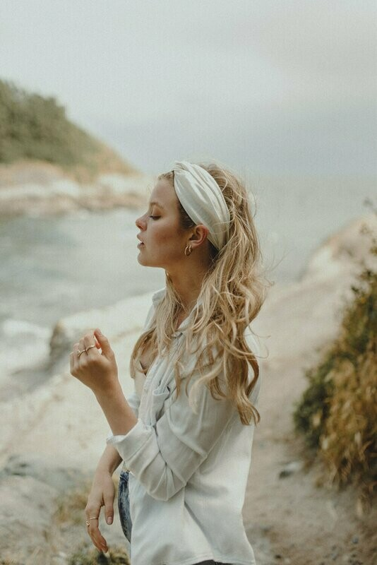 Headband White Satin