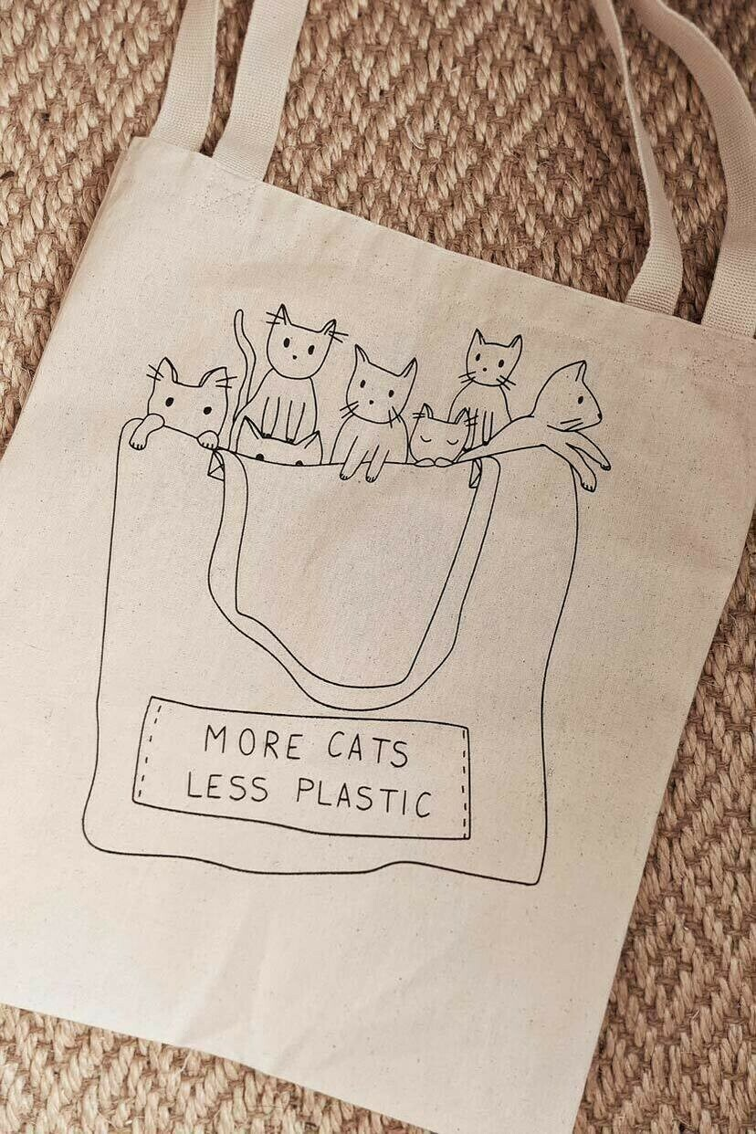 Mimi And August Tote - More Cats Less Plastic