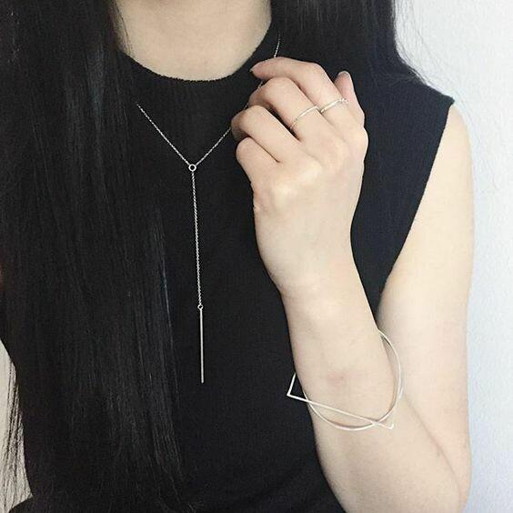 Kara Yoo Amora Bar Necklace Silver