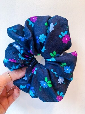 Billy Bamboo Teal Flowers Scrunchie