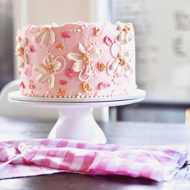 Vegan Carrot Cake with Buttercream Flowers