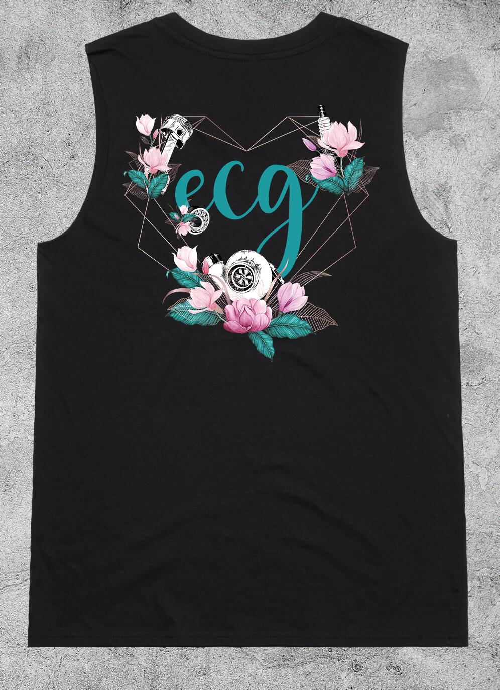 ECG Heart Logo Sunday Singlet - Black