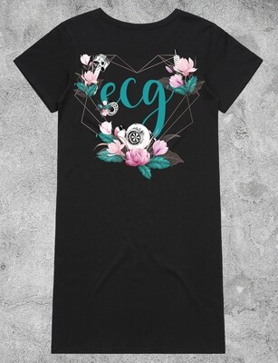 ECG Heart Logo Dress - Black