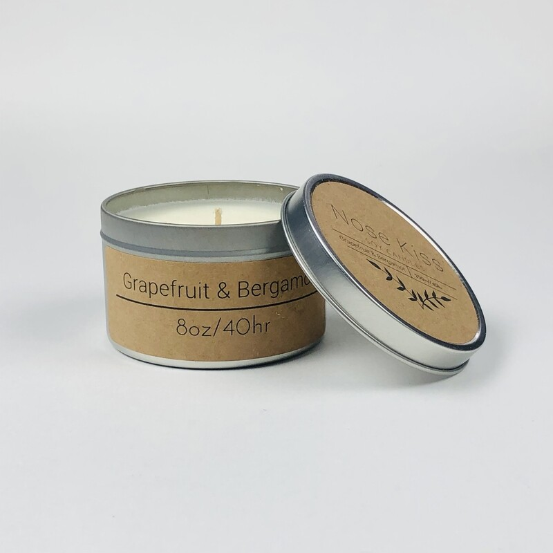 Grapefruit and Bergamot 8oz 40 hour scented Soy Candle by Nose Kiss Candles