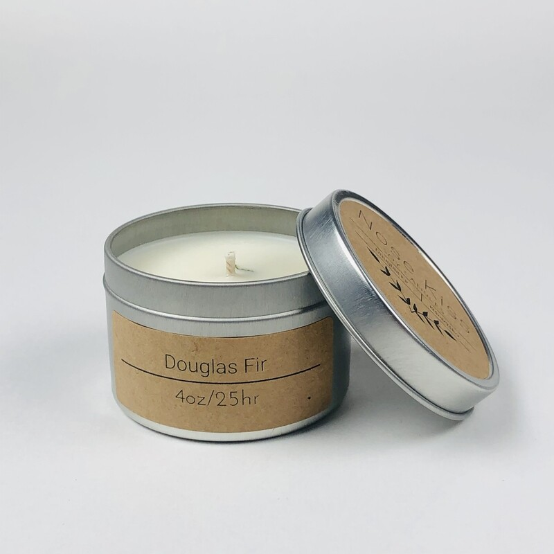 Douglas Fir scented 4oz 20 hour Soy Candle by Nose Kiss Candles