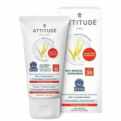 Attitude | Sunscreen | Lotion | Sensitive Skin | Fragrance Free | SPF 30