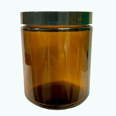 LUVU Beauty | DIY | Packaging | 8oz Amber Glass Jar w/Black Smooth Cap