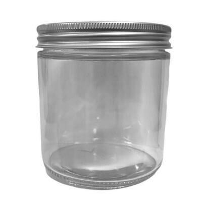 LUVU Beauty | DIY | Packaging | 16oz Clear Glass Jar w/Metal Lid