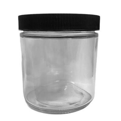 LUVU Beauty | DIY | Packaging | 16oz Clear Glass Jar w/Black Lid