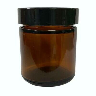 LUVU Beauty | DIY | Packaging | 2oz Amber Glass Jar w/Black Lid