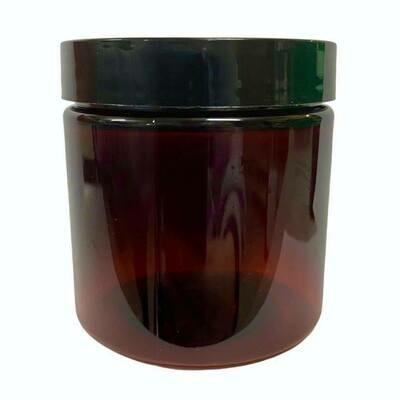 LUVU Beauty | DIY | Packaging | 4oz Amber Plastic Jar w/ Black Lid