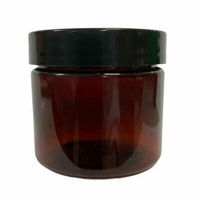 LUVU Beauty | DIY | Packaging | 2oz Amber Plastic Jar w/Black Lid