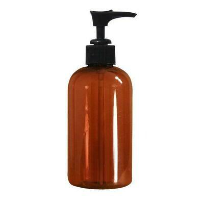 LUVU Beauty | DIY | Packaging | 8oz Amber Plastic Bottle w/Pump